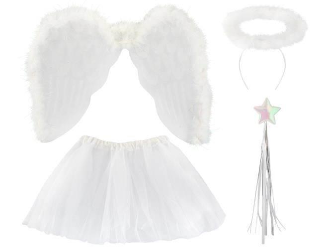 Krídla anjel páperová + svätožiara + palička + sukňa