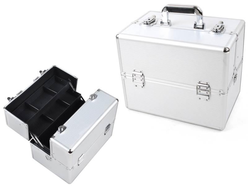 ISO 750 Kufřík kosmetický XL 36x25x24 cm stříbrná