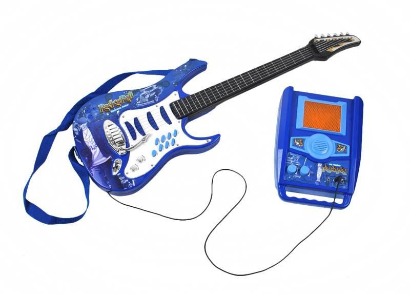 Detská rocková elektrická gitara na batérie + zosilňovač a mikrofón Blue4