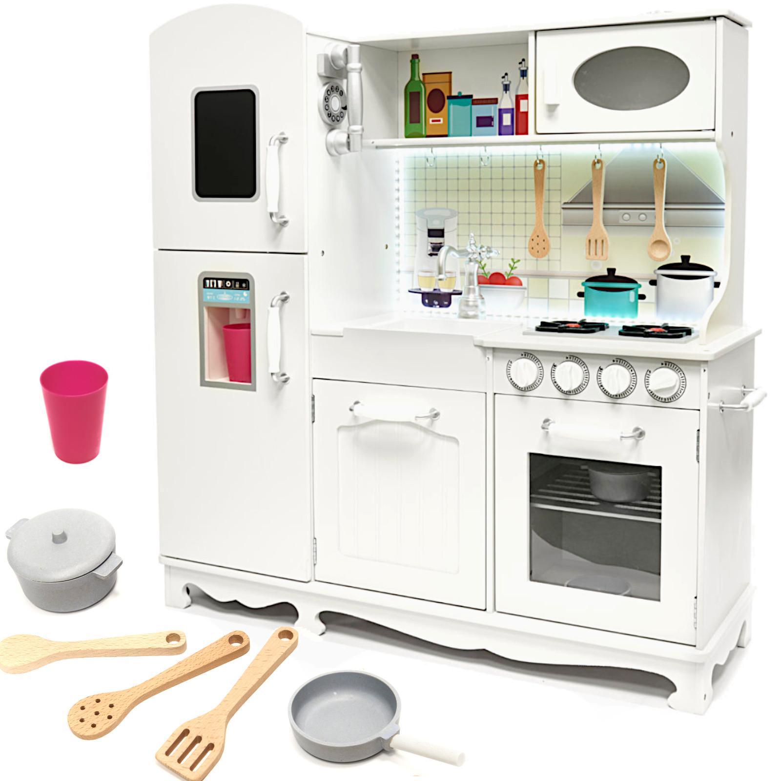 KIK KX6491 Dětská dřevěná kuchyňka s příslušenstvím 103 cm bílá
