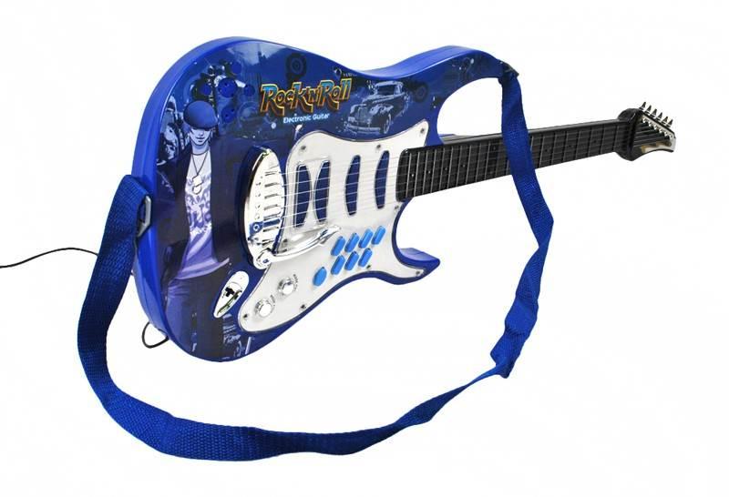 Detská rocková elektrická gitara na batérie + zosilňovač a mikrofón Blue10