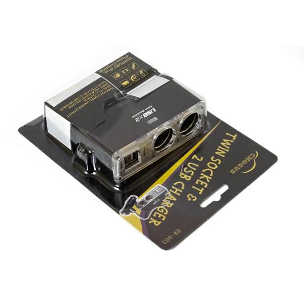 GT K517A Nabíjací adaptér do auta 2x USB, 2x zapaľovač3