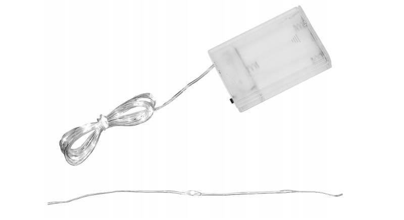 ISO 7268 Světelný řetěz na baterie 20 LED studená bílá 2m