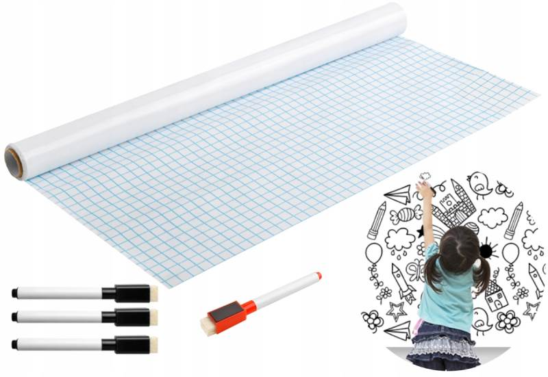 ISO 8489 Samolepiace tabule na kriedy + fixky 200x45cm biela