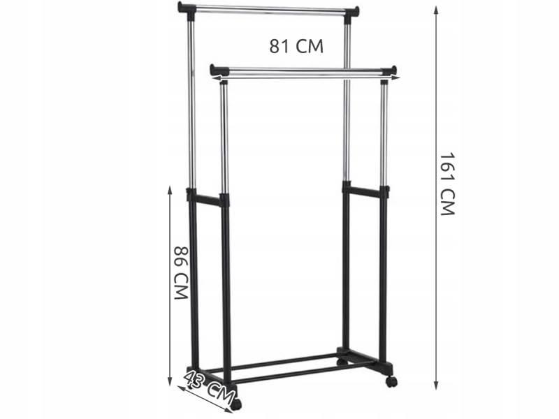 ISO 7834 Nastaviteľný dvojitý stojan na odevy so 4 kolieskami a 2 tyčami HQ2