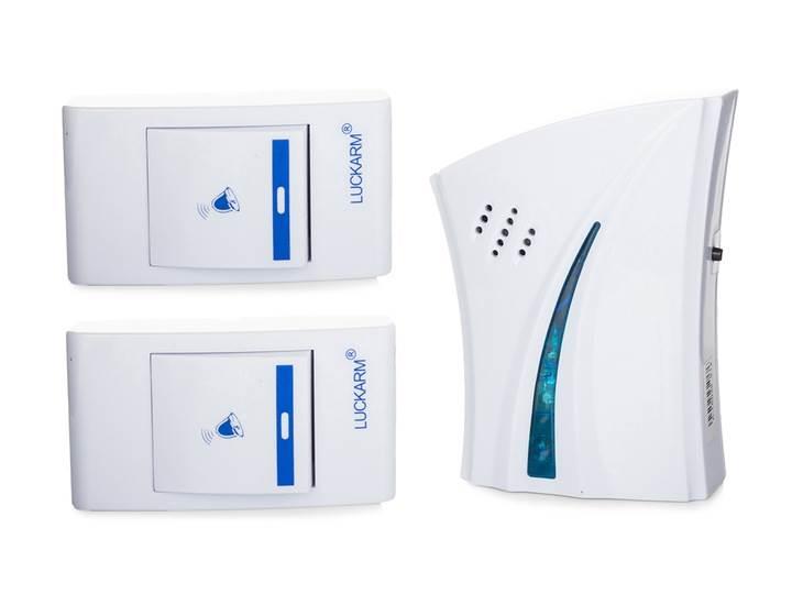 Verk D5610 Bezdrôtový zvonček 32 melódií, 1x príjmač AA, 2x ovládač, 100m biely
