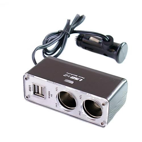 GT K517A Nabíjací adaptér do auta 2x USB, 2x zapaľovač1
