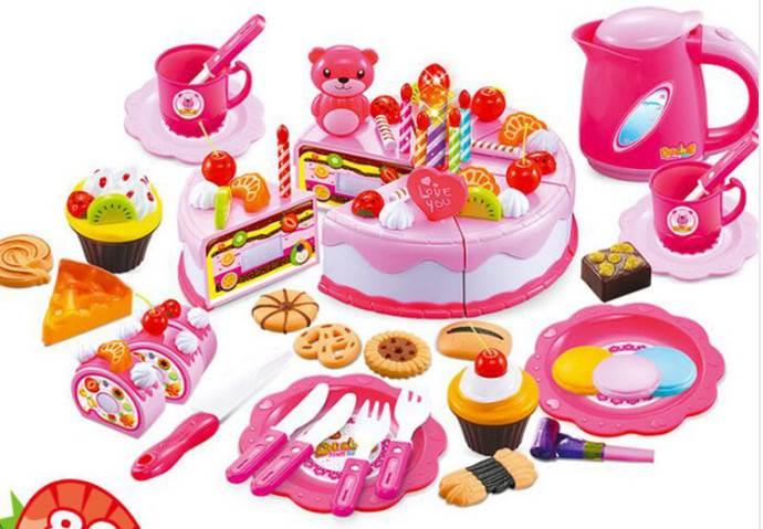 DIY KX7594 Detský plastový narodeninovú tortu ružový 80 dielov