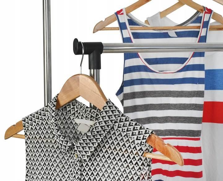 ISO 5346 Nastavitelný dvojitý stojan na oděvy se 4 kolečky a 2 tyčemi 5