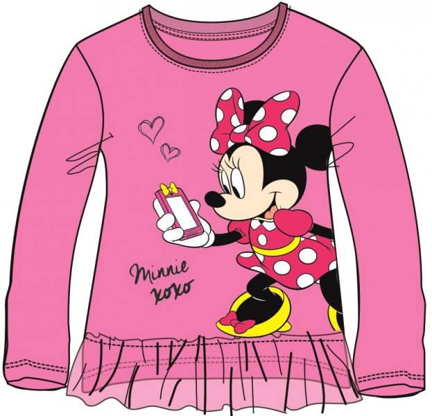Javoli Detské tričko dlhý rukáv Disney Minnie s volánikom veľ. 116 ružové