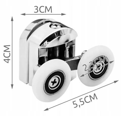 ISO 9647 Kolečka ke sprchovým koutům 8 ks chrom3