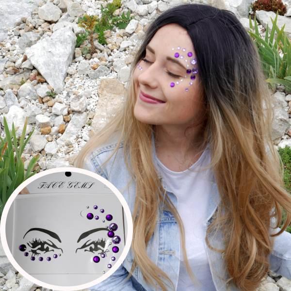 GFT Nalepovacie kamienky na tvár - fialové