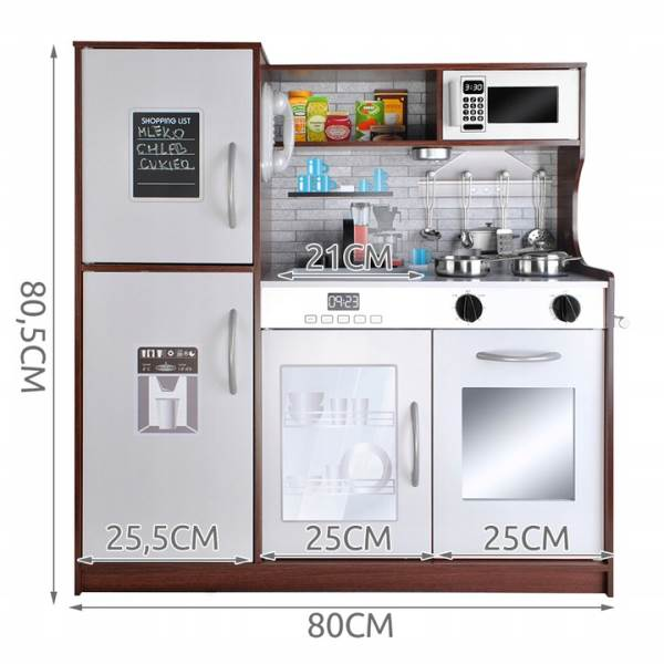 Kruzzel 9150 Dětská dřevěná kuchyňka s příslušenstvím XXL hnědá9