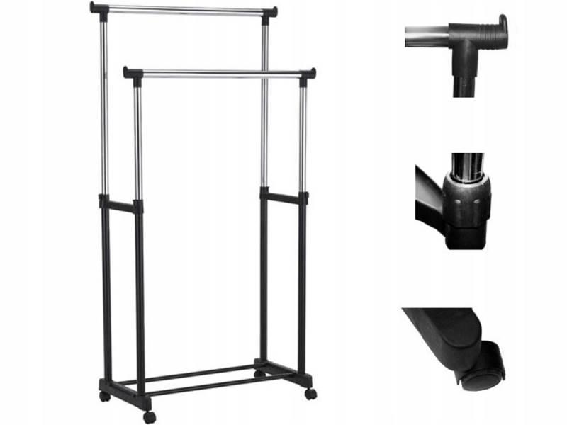 ISO 7834 Nastavitelný dvojitý stojan na oděvy se 4 kolečky a 2 tyčemi HQ