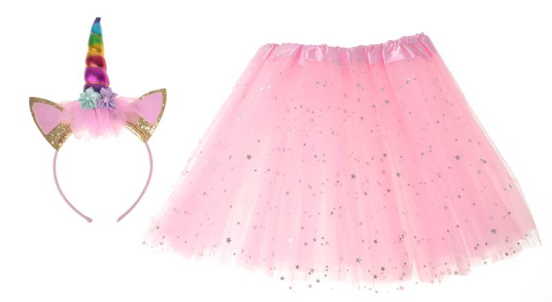 KIK Dětský kostým růžová sukně s čelenkou jednorožec