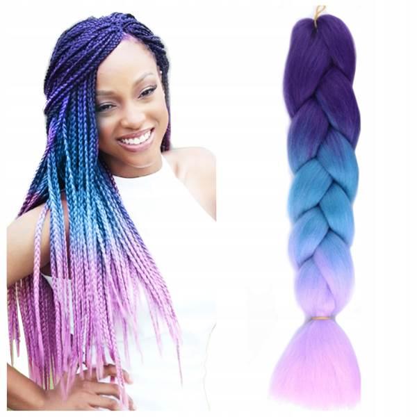 ISO Vlasy Kanelové syntetickej Copánky ombre fialovomodré