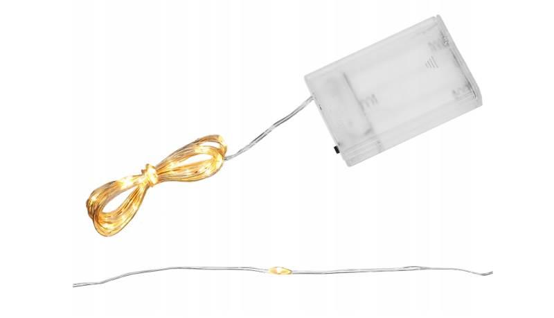 ISO 7269 Světelný řetěz na baterie 20 LED teplá bílá 2m