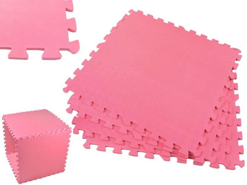 EVA Penový koberec 60 x 60cm - 4 ks Ružová