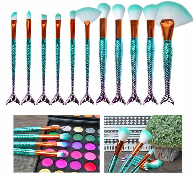 ISO 6604 Sada kosmetických štětců siréna - 11 kusů