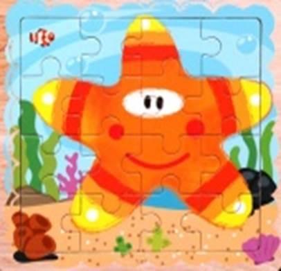 KIK Drevené puzzle Morská hviezdica 16 dielikov