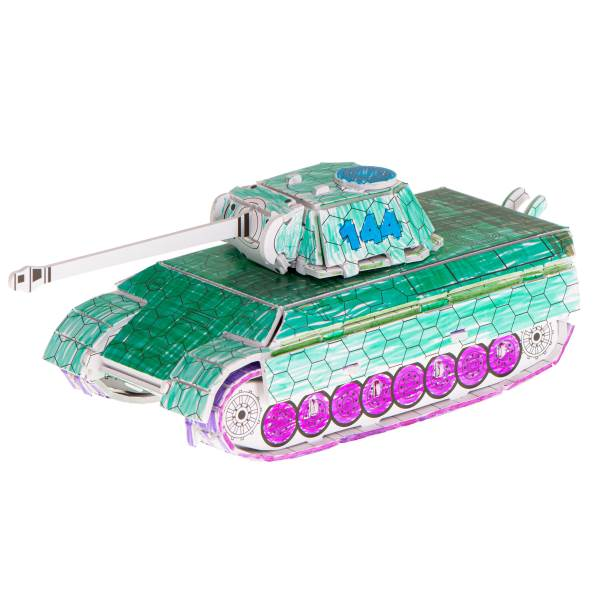 KIK Papírové 3D puzzle s barvičkami Tank 37 dílů2