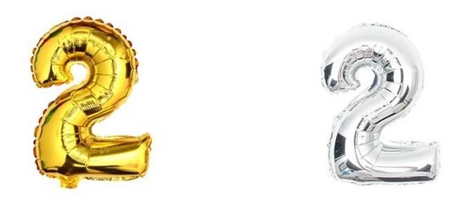 KIK Nafukovacie balónik Číslice 2 40cm strieborná, zlatá