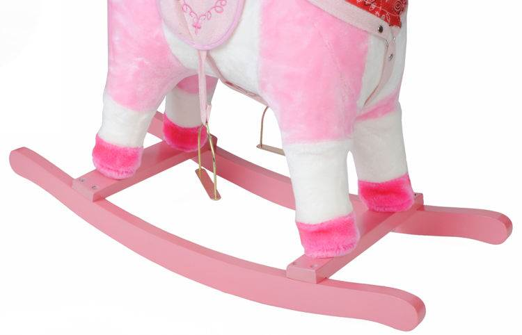 ISO 4593 Houpací kůň se zvuky - růžový 74 cm