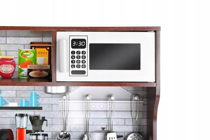Kruzzel 9150 Dětská dřevěná kuchyňka s příslušenstvím XXL hnědá3