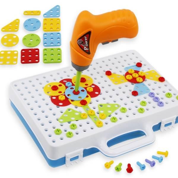 KIK KX7838 Mozaika detské puzzle plastové bloky + skrutkovač
