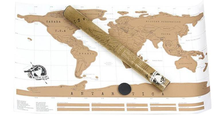 Stírací mapa světa Deluxe 88 x 52 cm