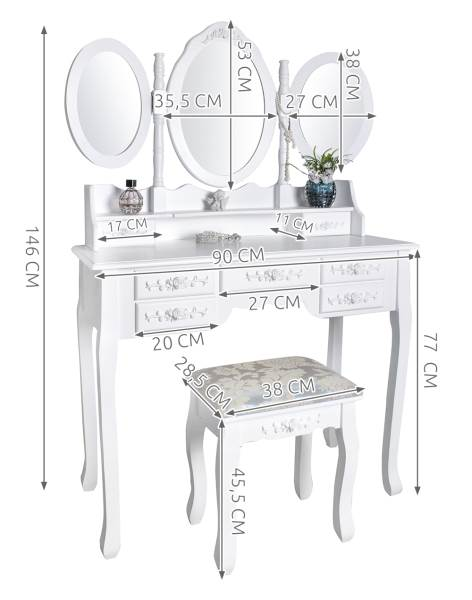 Malatec 4644 Toaletný stolík so stoličkou a zrkadlom XL3