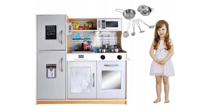 Kruzzel 9151 Dětská dřevěná kuchyňka s příslušenstvím XXL světle hnědá1