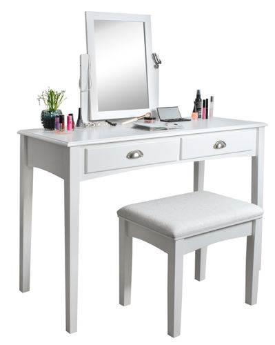 Malatec 4646 Bílý toaletní stolek se stoličkou a zrcadlem