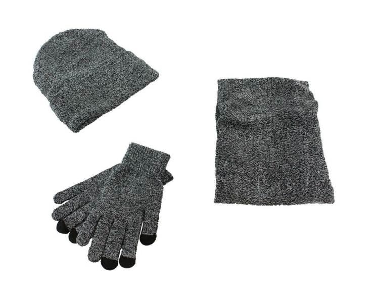 APT Set čiapka nákrčník rukavice sivá melanž1