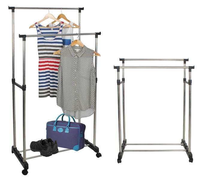 ISO 5346 Nastavitelný dvojitý stojan na oděvy se 4 kolečky a 2 tyčemi