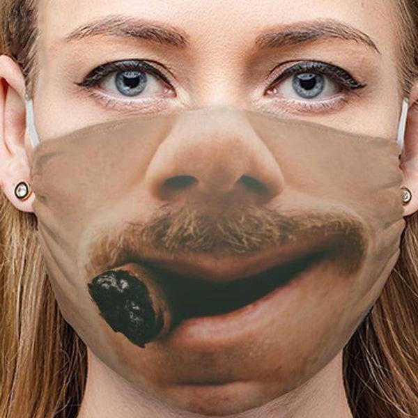 Ali Zábavná maska na obličej 3D potisk - old gentleman