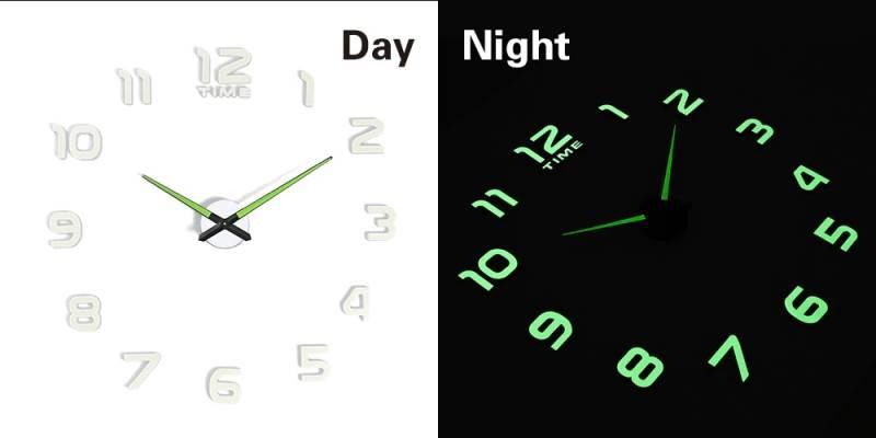 KIK KX7442 Dizajnové 3D nalepovacie hodiny fluorescenčná 50-60cm II