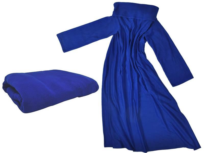 ISO Fleecová deka s rukávmi - modrá