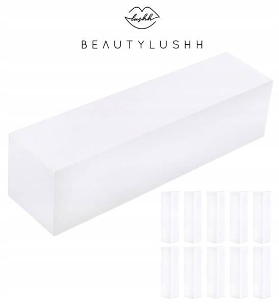 Beautylushh 8890 Leštička na nehty kvádr čtyřstranná bílá 10 ks1