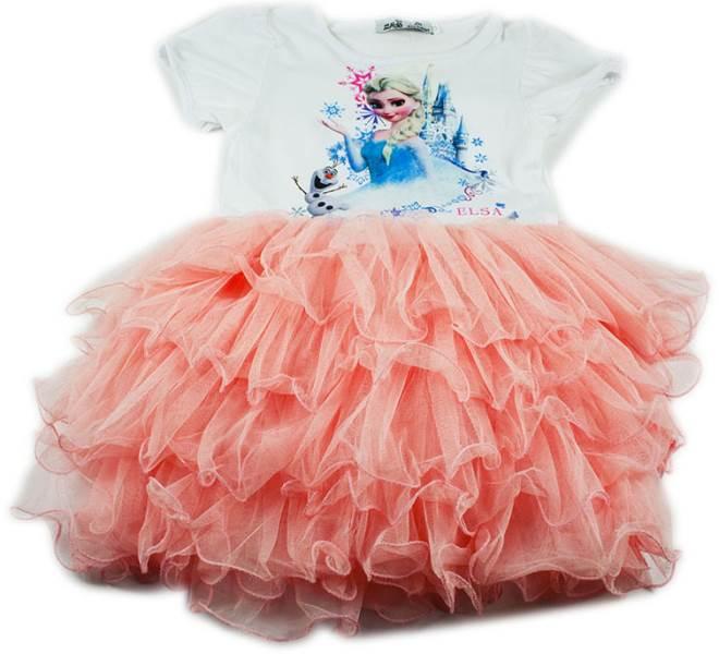 KIK KX9211 Růžové šaty s obrázkem princezny Elsy 120cm