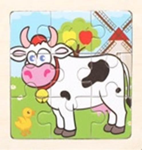 KIK Drevené puzzle Krava 9 dielikov