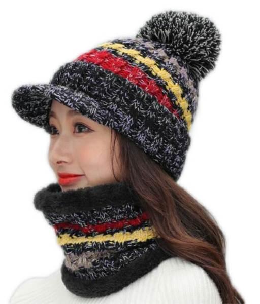 APT Dámska zimná čiapka s nákrčníkom čierna1