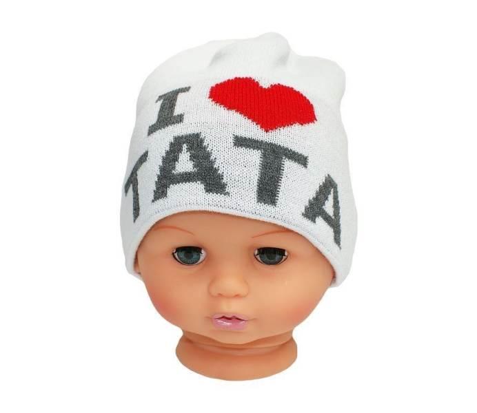 Proman Detská zimná čiapka I LOVE TATA biala