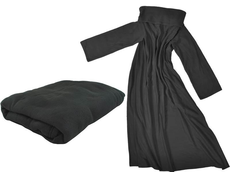 ISO Fleecová deka s rukávmi čierna