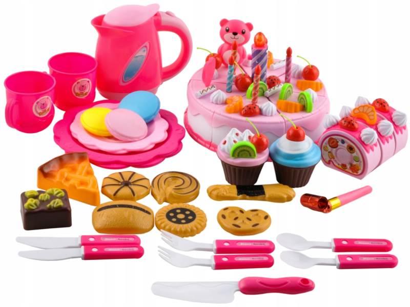 ISO 7466 Detský plastový narodeninový tort ružový 80 dielov