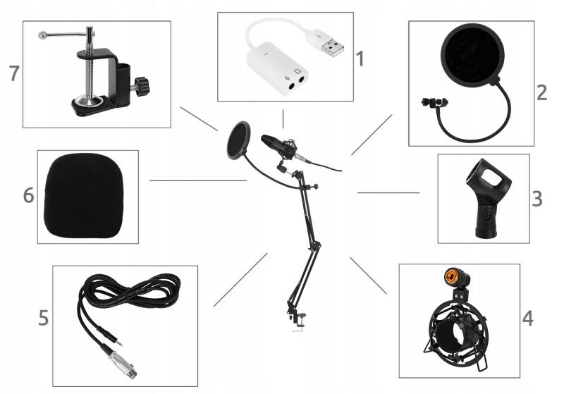 ISO 8957 Profesionálny štúdiový mikrofón pre náročných užívateľov so stojanom2