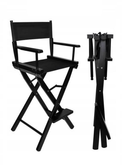 Beautylushh 9917 Drevená skladacia kozmetická stolička čierna