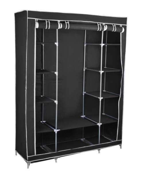 Dvojitá skriňa na oblečenie 175 cm × 135 cm × 44 cm čierna