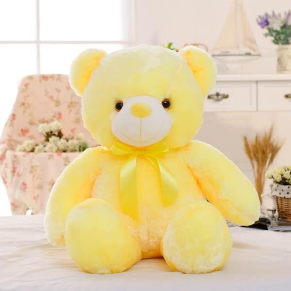 KIK Plyšový LED medvěd svítící 50 cm žlutá