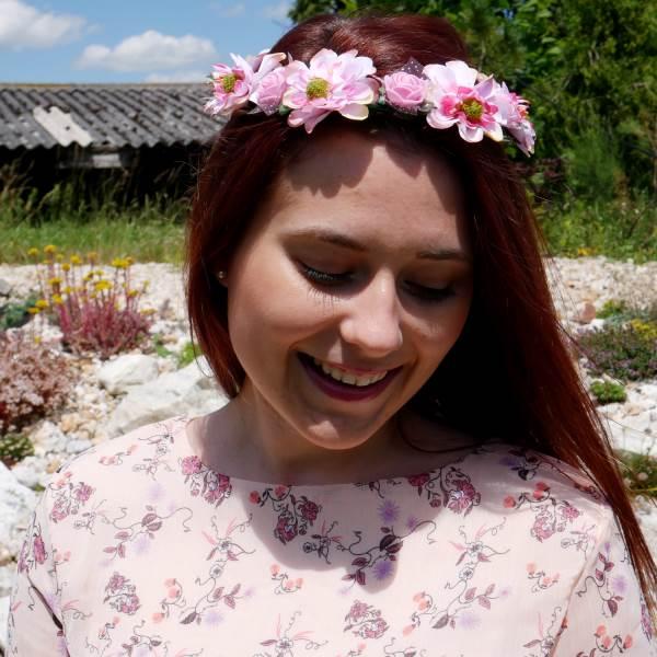 GFT Kvetinová čelenka - ružová